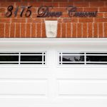 Garage door and lettering