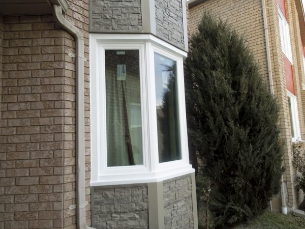 Front bow window with new brick work